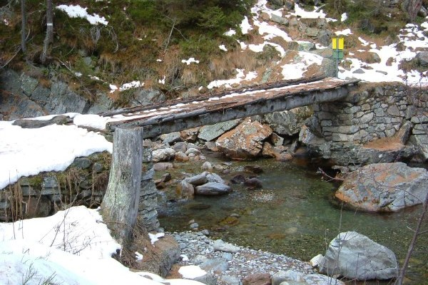 A log bridge in the French Alps near Vallorcine.