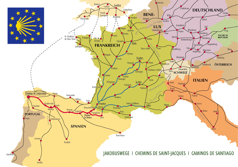 Zubringerwege innerhalb Europas für den Jakobsweg