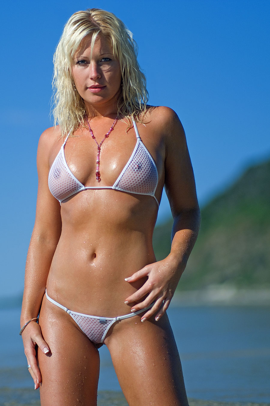 see through white mesh bikini