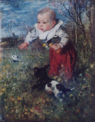 Wilhelm von Diez Dziecko z psem na kwitnącej łące