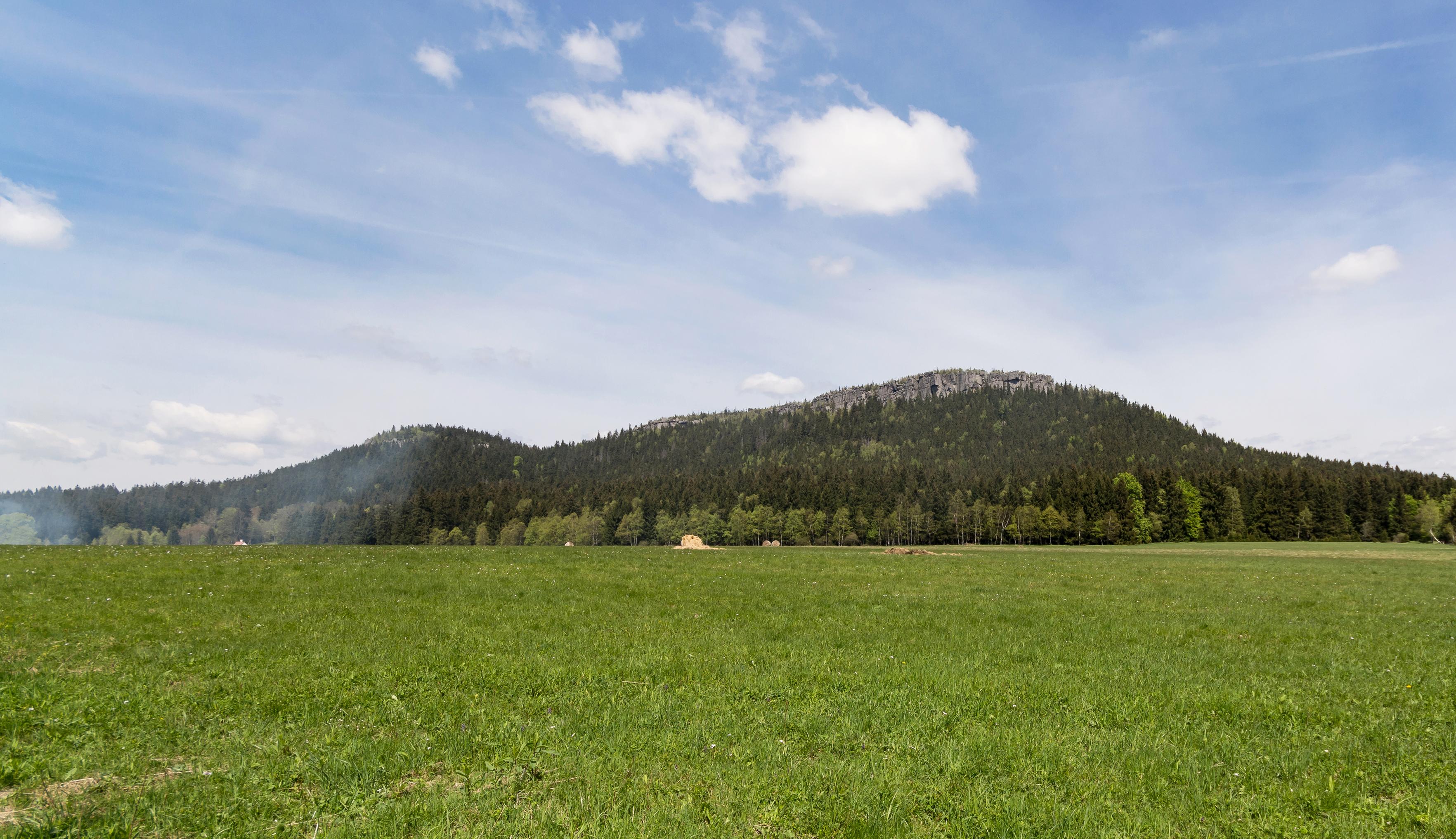 Widok na masyw z Karłowa(Szczeliniec Mały i Szczeliniec Wielki)