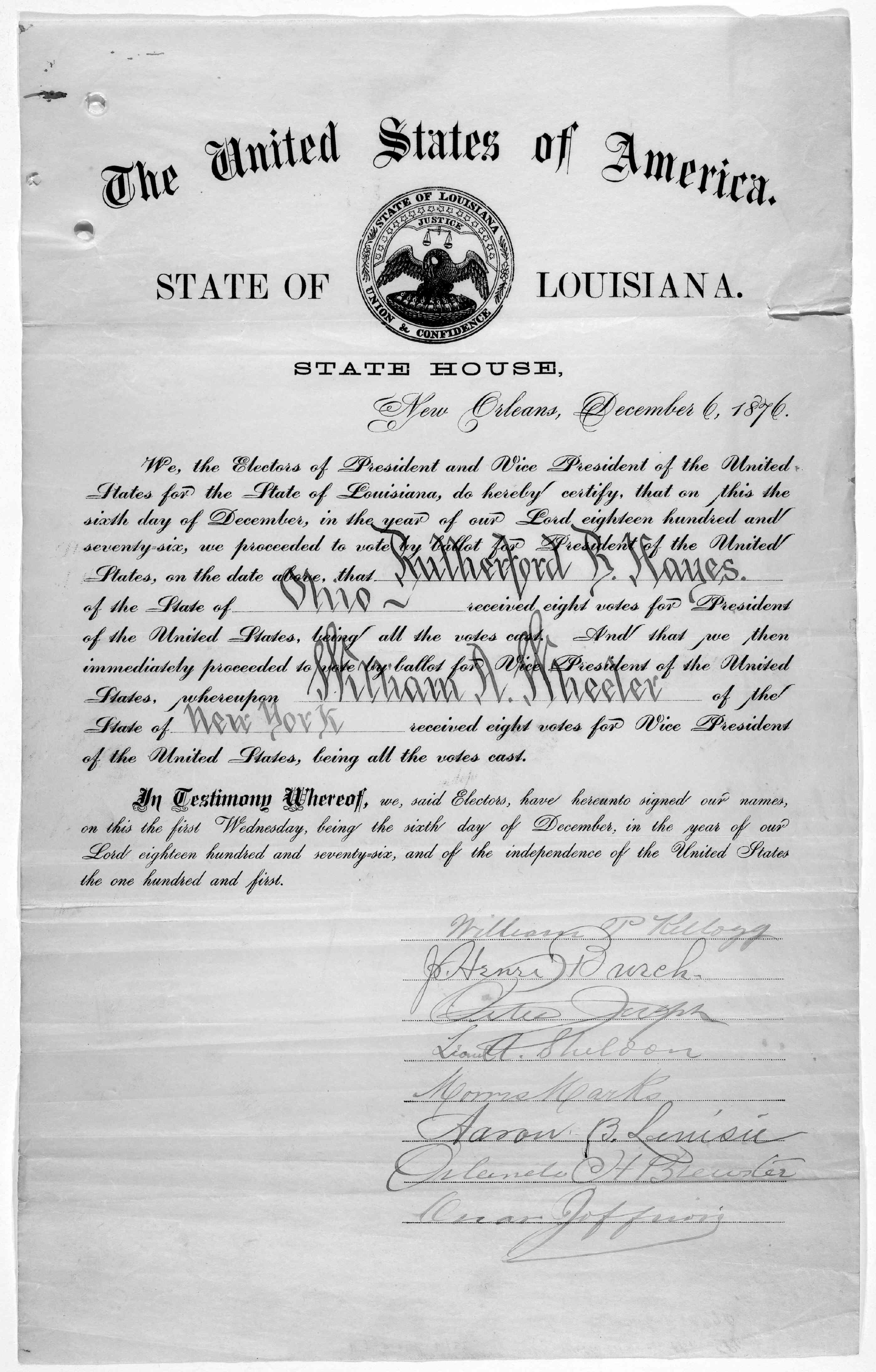 Electoral College Certificate
