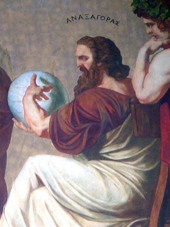 Detail of the right-hand facade fresco, showing Anaxagoras.