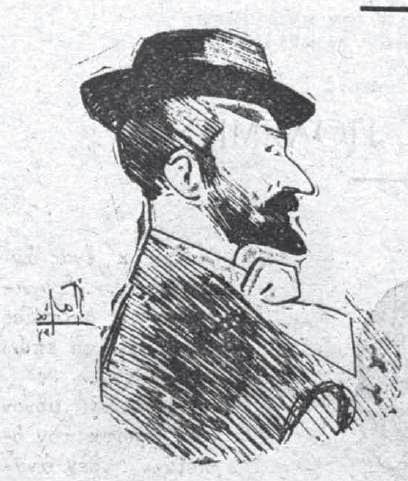 Σκίτσο του συγγραφέα φιλοτεχνημένο από τον Γεώργιο Ροϊλό, Χριστούγεννα 1898.