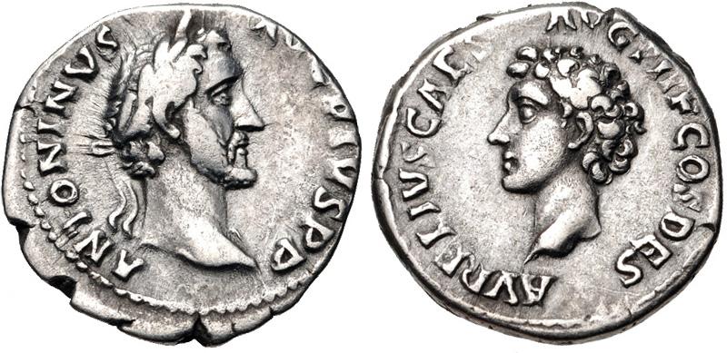 Roman coin with  a portrait of Marcus Aurelius and Antoninus Pius