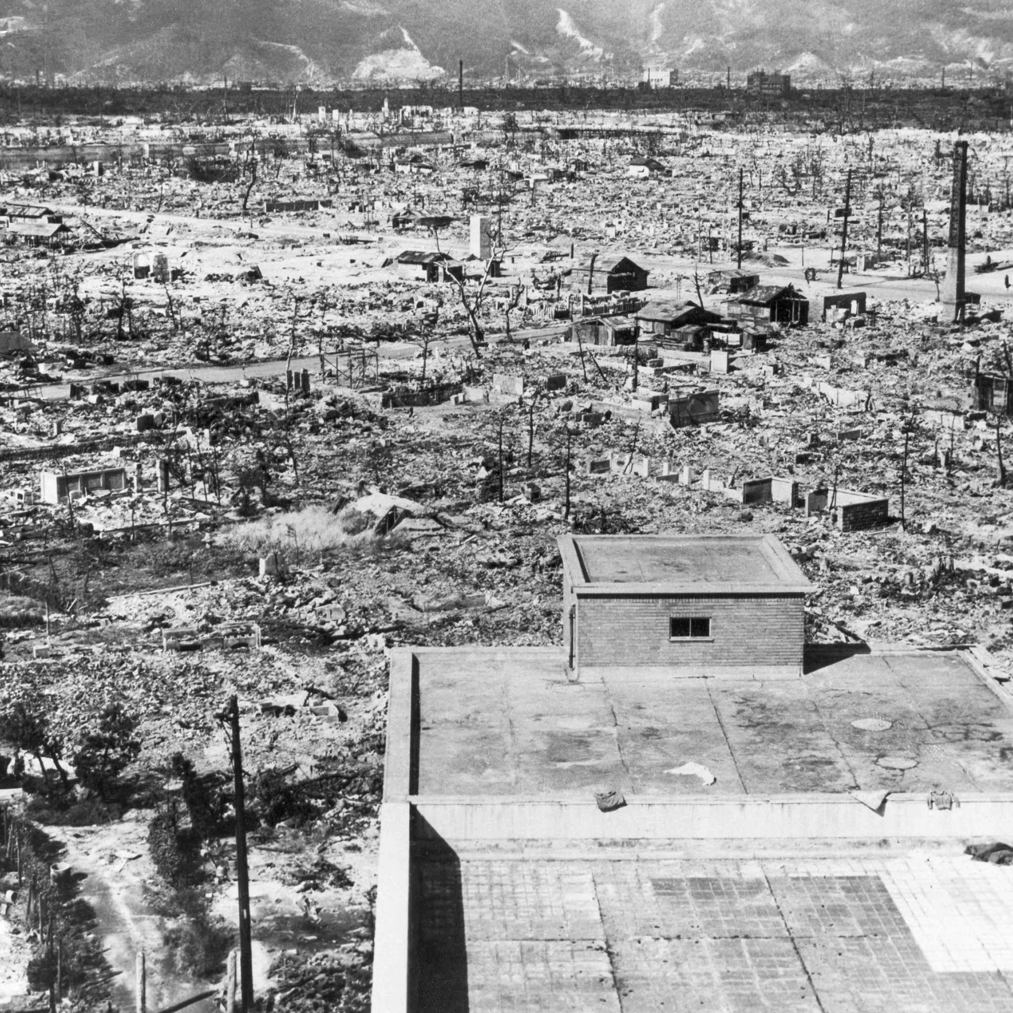 Hiroshima looking northwest. Frame buildings recently erected, 1945