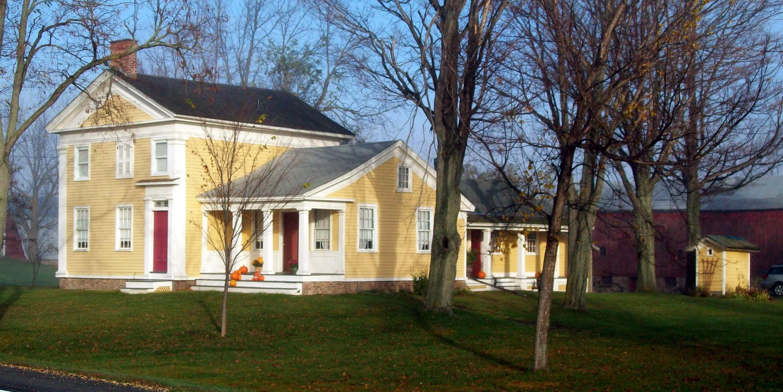 Yellow House Red Door Black Shutters benjamin franklin gates house - wikipedia