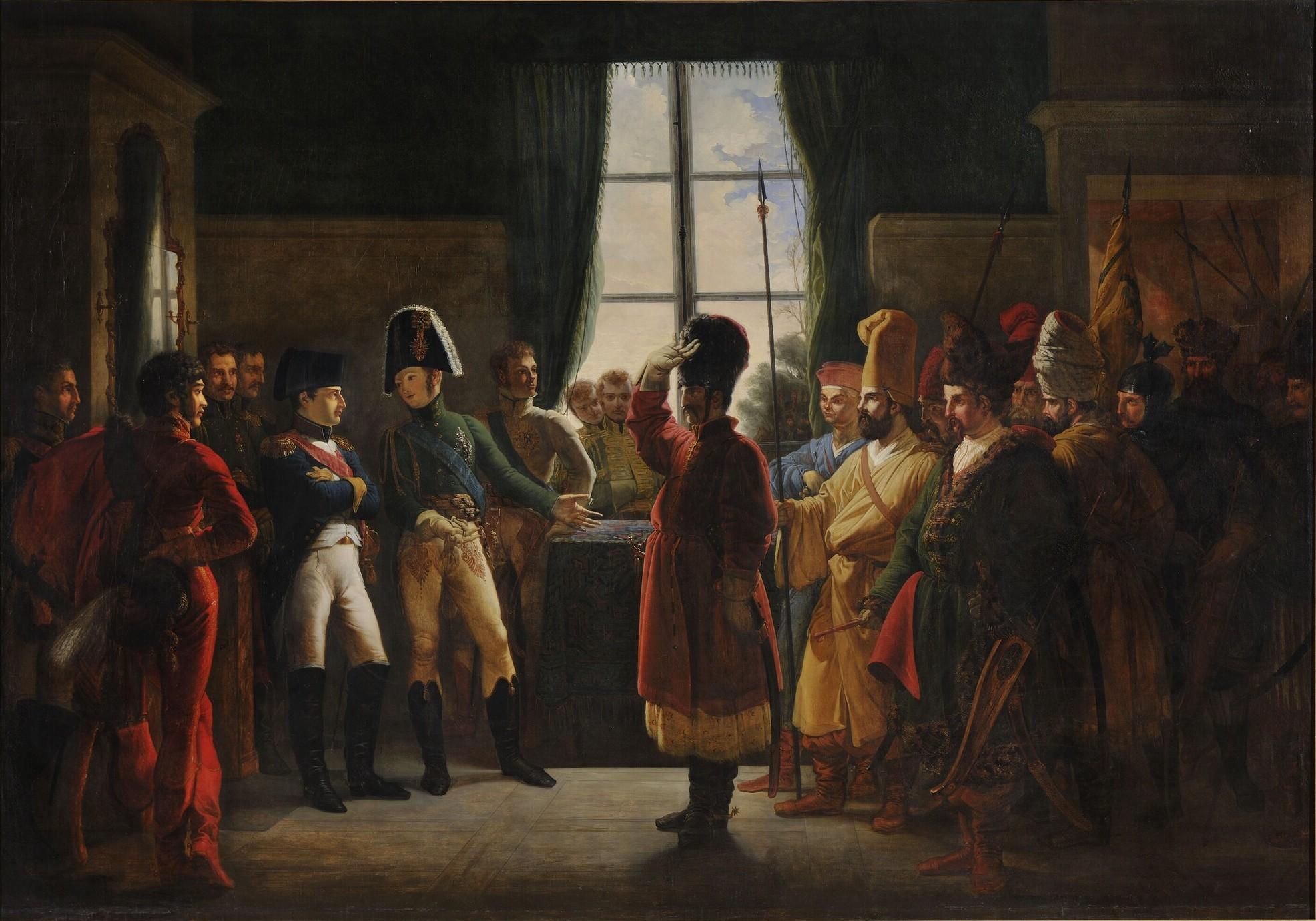 File:Bergeret - Alexander Ier présente à Napoléon les Kalmoucks, les Cosaques et les Baskirs de l'armée russe (9 juillet 1807).jpg