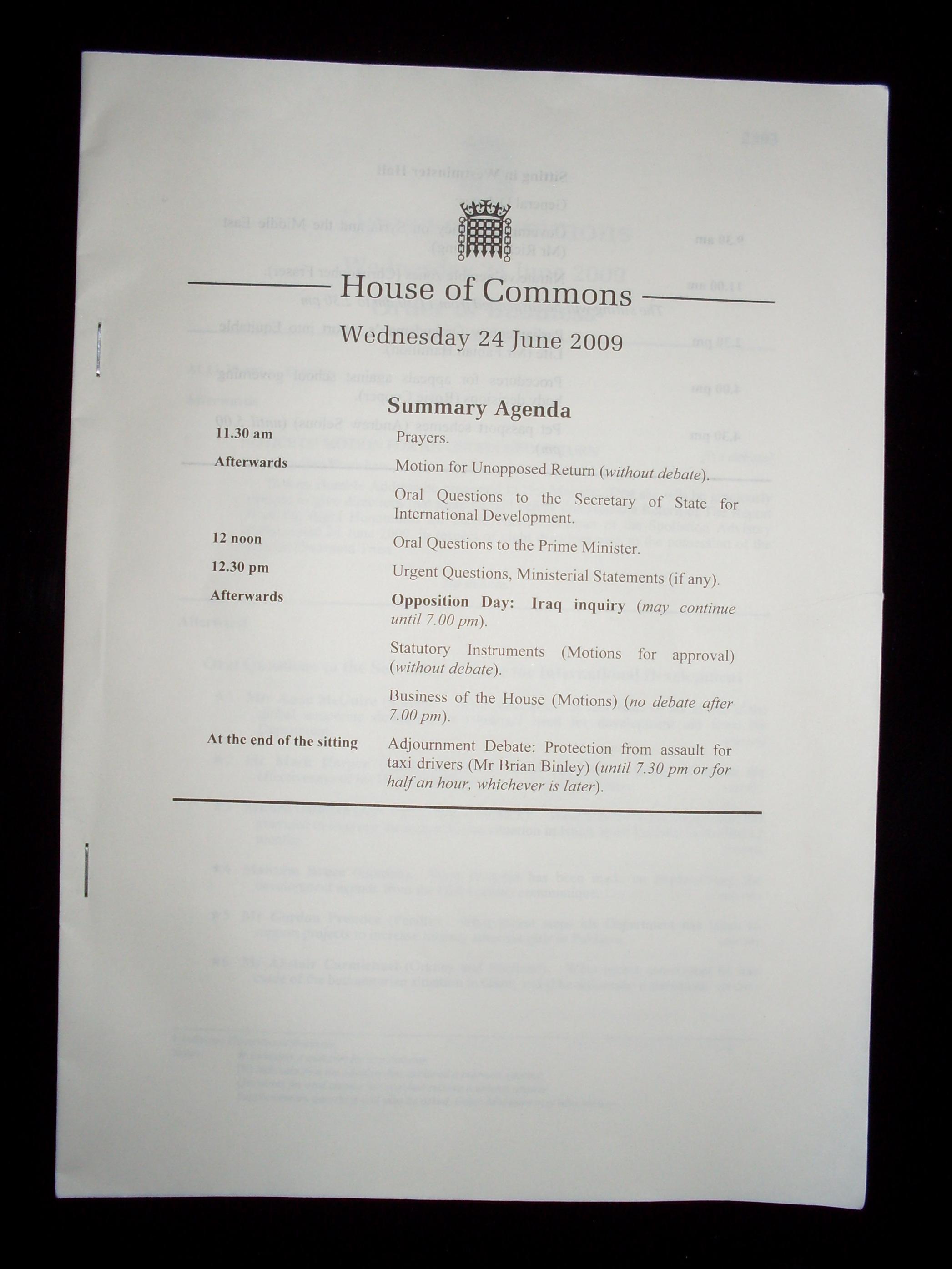 Description British House of Commons Order Paper (24 June 2009).JPG