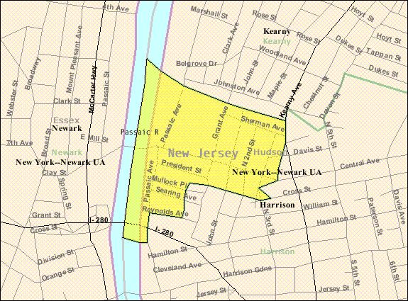 Census Bureau map of East Newark, New Jersey