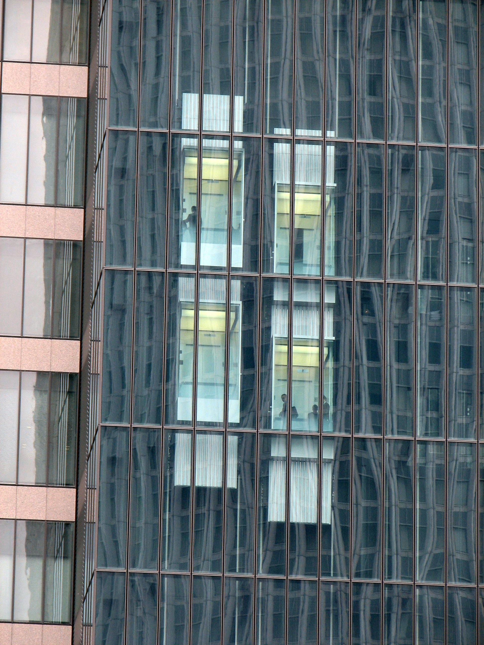 Double-deck elevators at Midland Square, Nagoya, Japan
