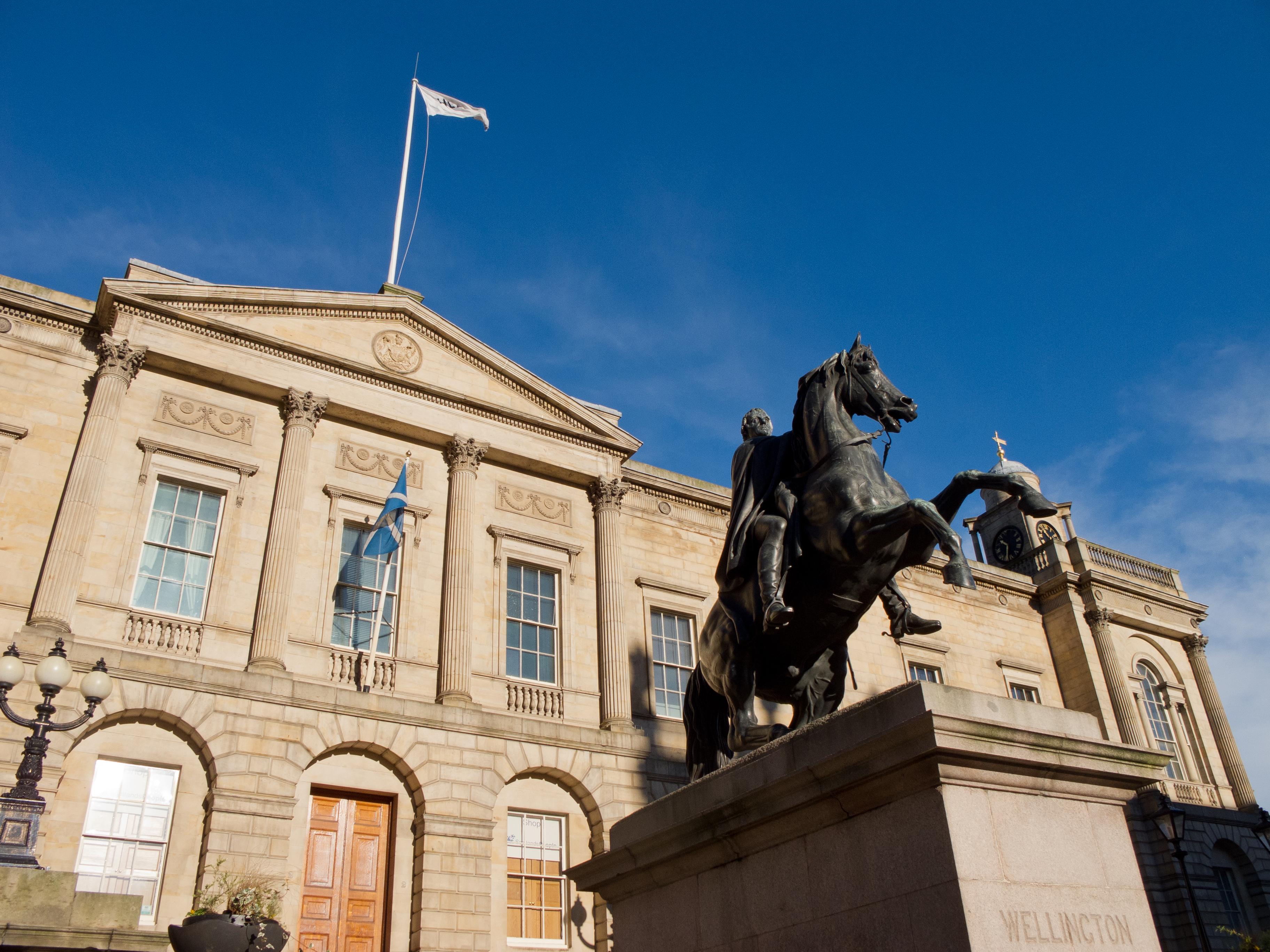 Duke of Wellington and General Register House, Edinburgh, Scotland, UK.