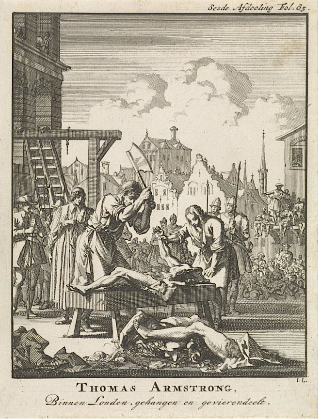 The execution of Sir Thomas Armstrong, who was hanged, drawn and quartered in England for high treason in 1684