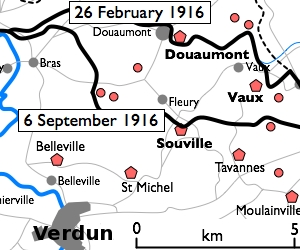 Forts around verdun vaux is northeast of verdun at upper right
