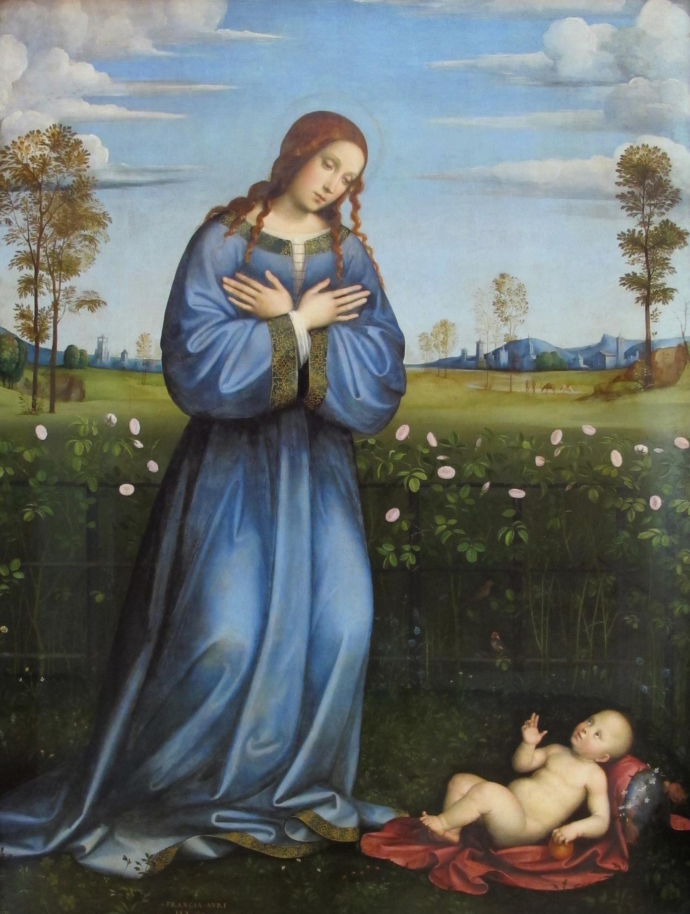 """""""Madonna im Rosenhag"""" von Francesco Raibolini, genannt Francia. (Quelle: Wikipedia/wikicommons)"""