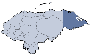 Location of Gracias a Dios department