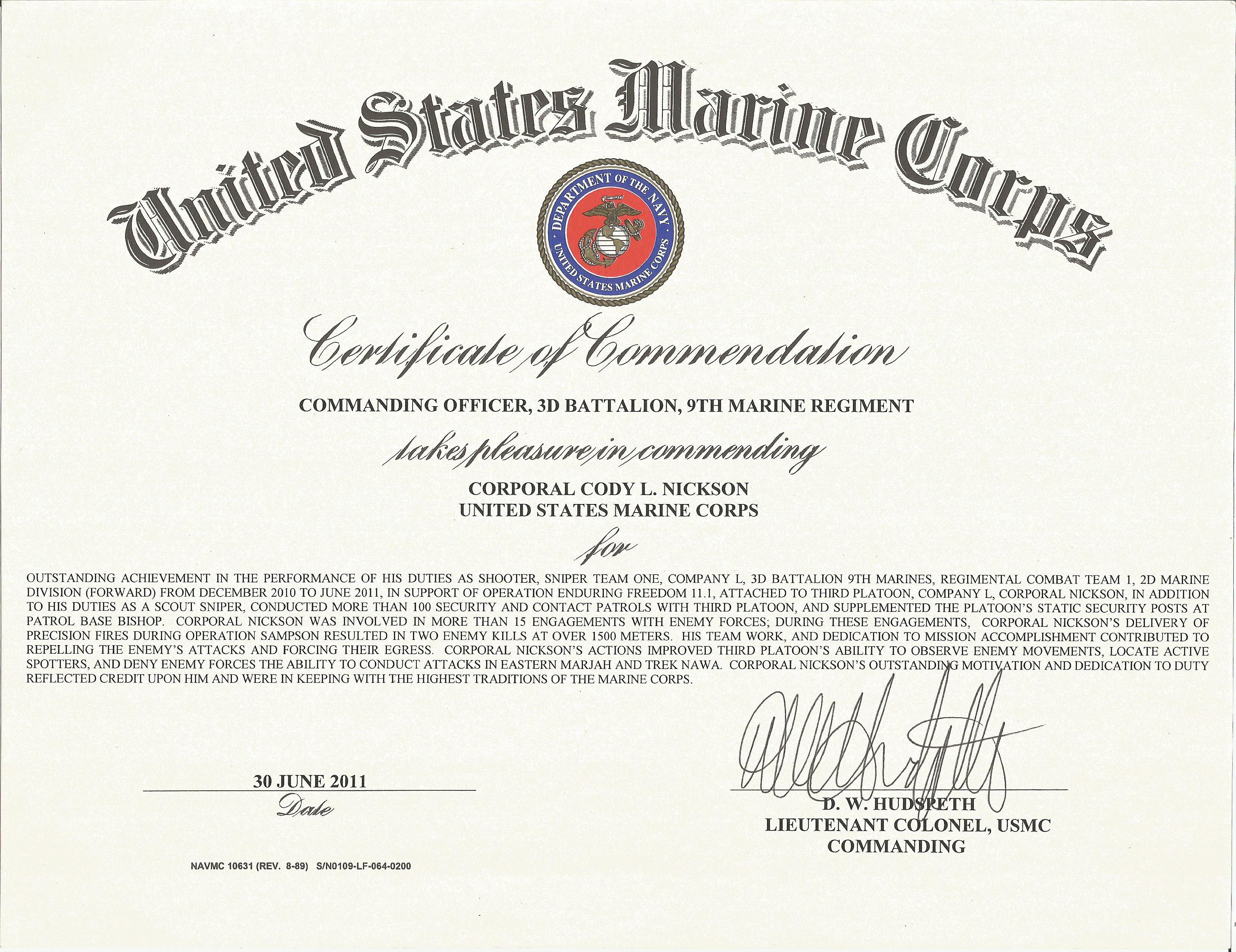 file mc 2011 06 30 certificate of commendation afghanistan sniper te