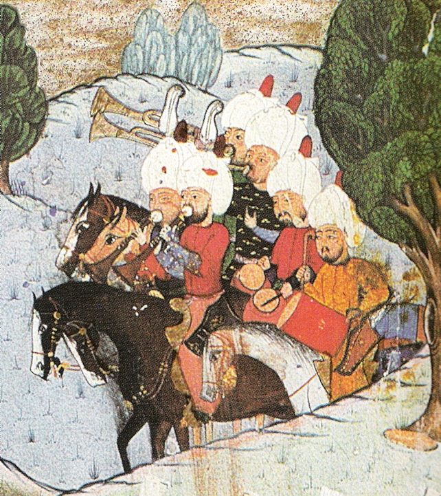 This image is of a group of the mehter or Ottoman military band, playing as their army enters battle. By Unknown painter - Top-kapi-Serail-Museum Hazine 1339, veröffentlicht bei Gezá Fehér: Türkische Miniaturen'.