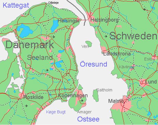 Übersichtskarte vom Øresund