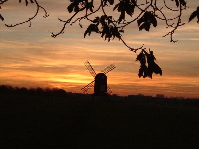 Pitstone Windmill silhouette - geograph.org.uk - 263000