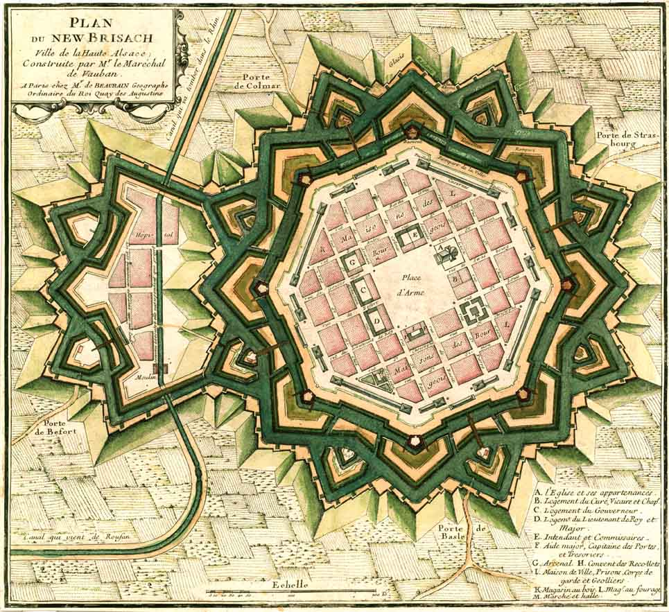Plan Neuf-Brisachs von Sébastien Le Prestre de Vauban, 1697