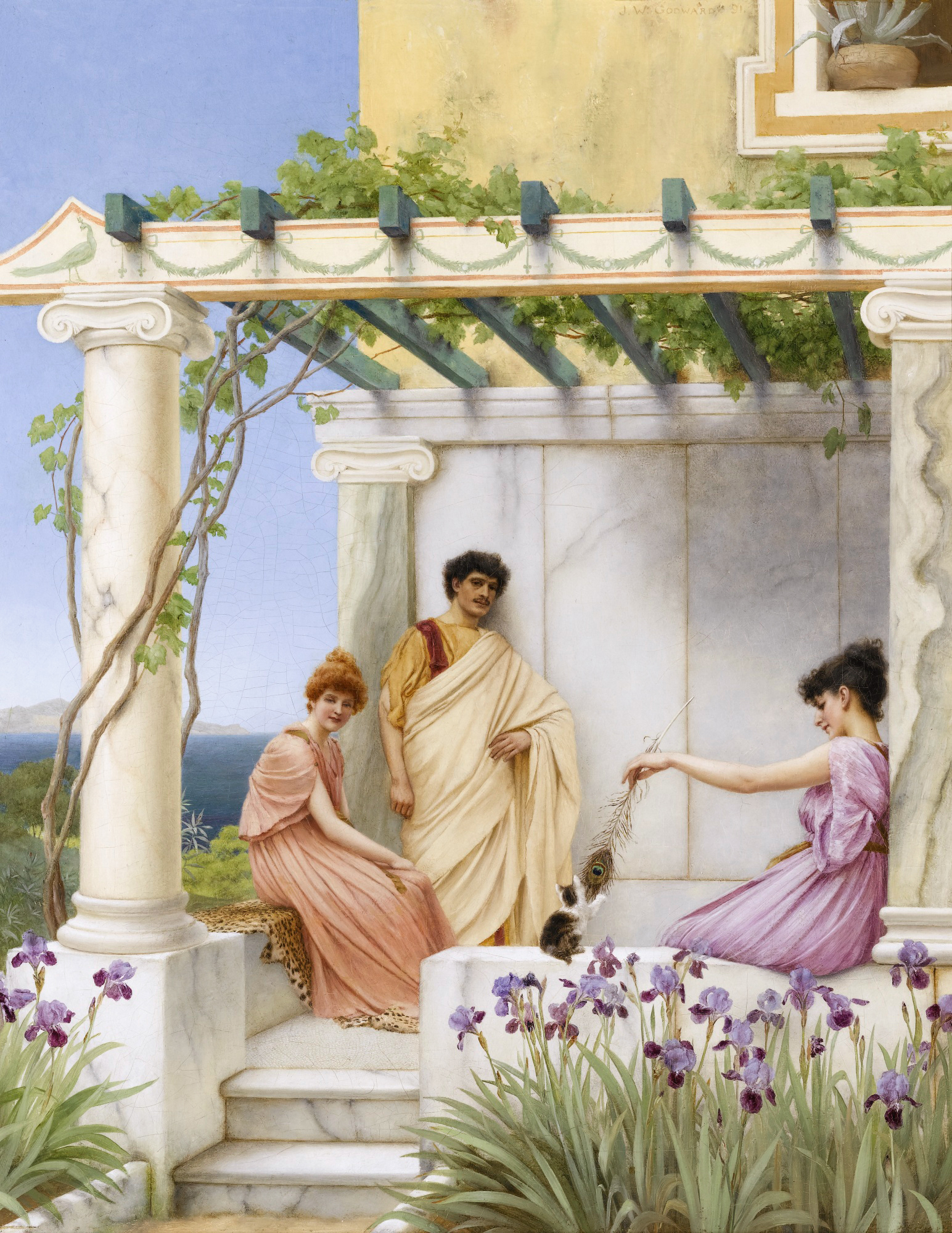 John William Godward - Page 2 Playtime,_by_John_William_Godward