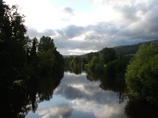 River Usk -evening view upstream from Crickhowell Bridge - geograph.org.uk - 853882
