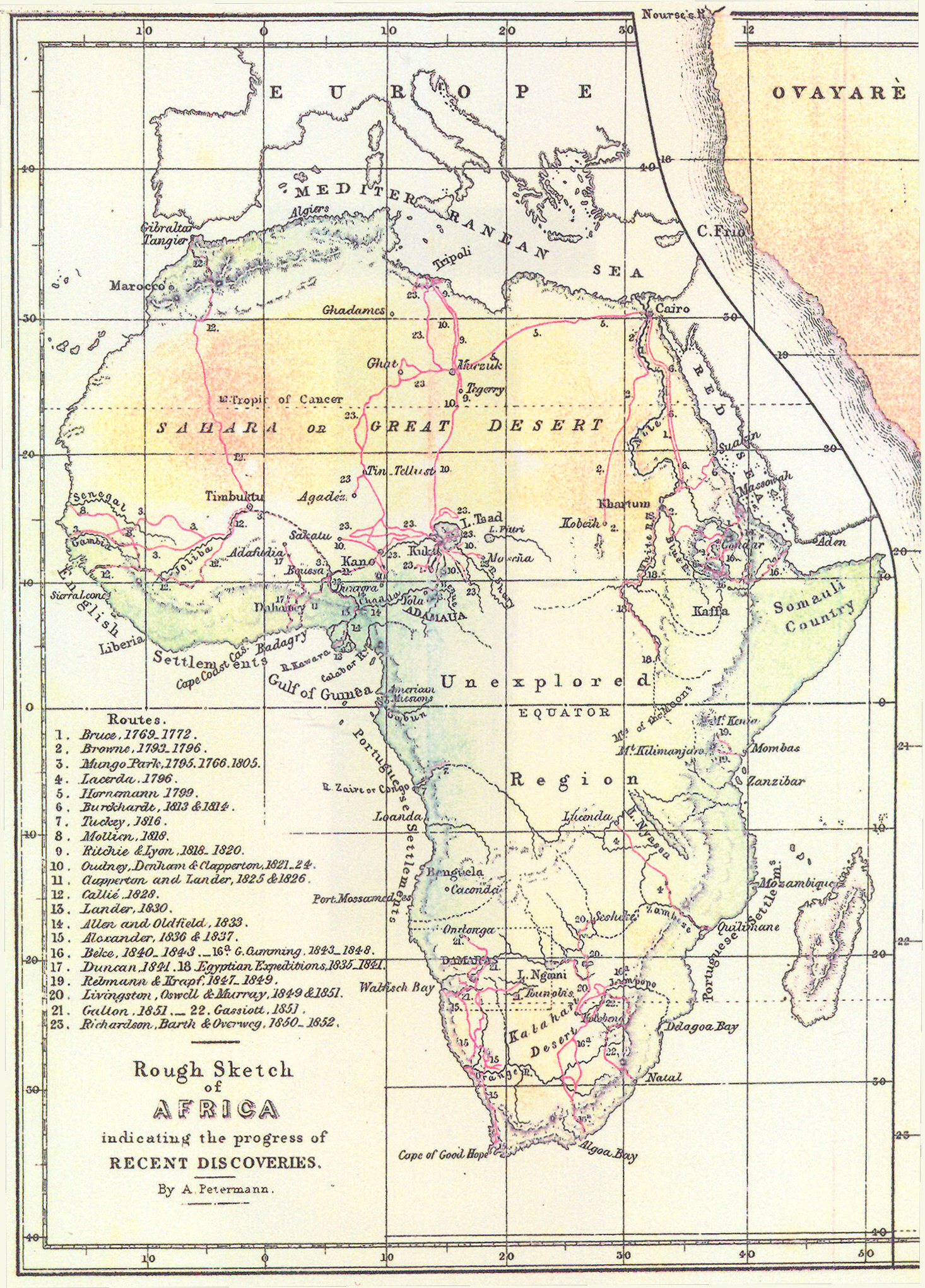 19th Century Africa Map.File Routes Of European Explorers In Africa To 1853 Jpg Wikimedia