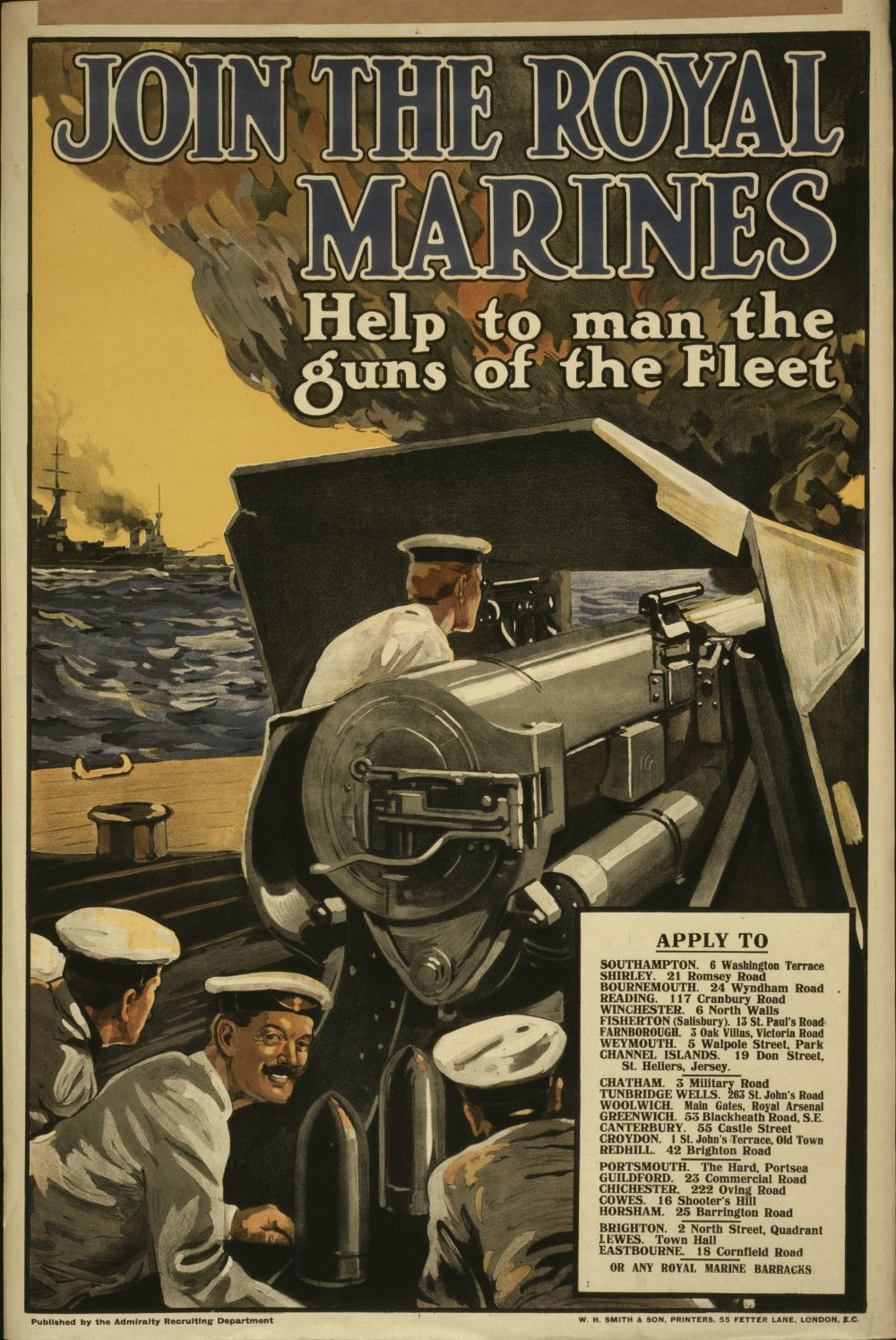 File royal marines recruiting poster 1915 loc wikimedia commons - Royal marines recruitment office ...
