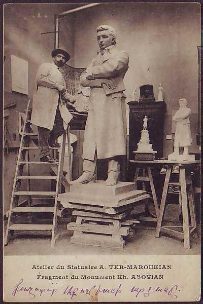 Sculptor AndreasTer Marukyan in his studio with a sculpture of Khachatur Abovyan %28France%2C 1910%29 - Արձաններ, որ «ճանապարհորդեցին» Երևանով, և ոչ միայն...
