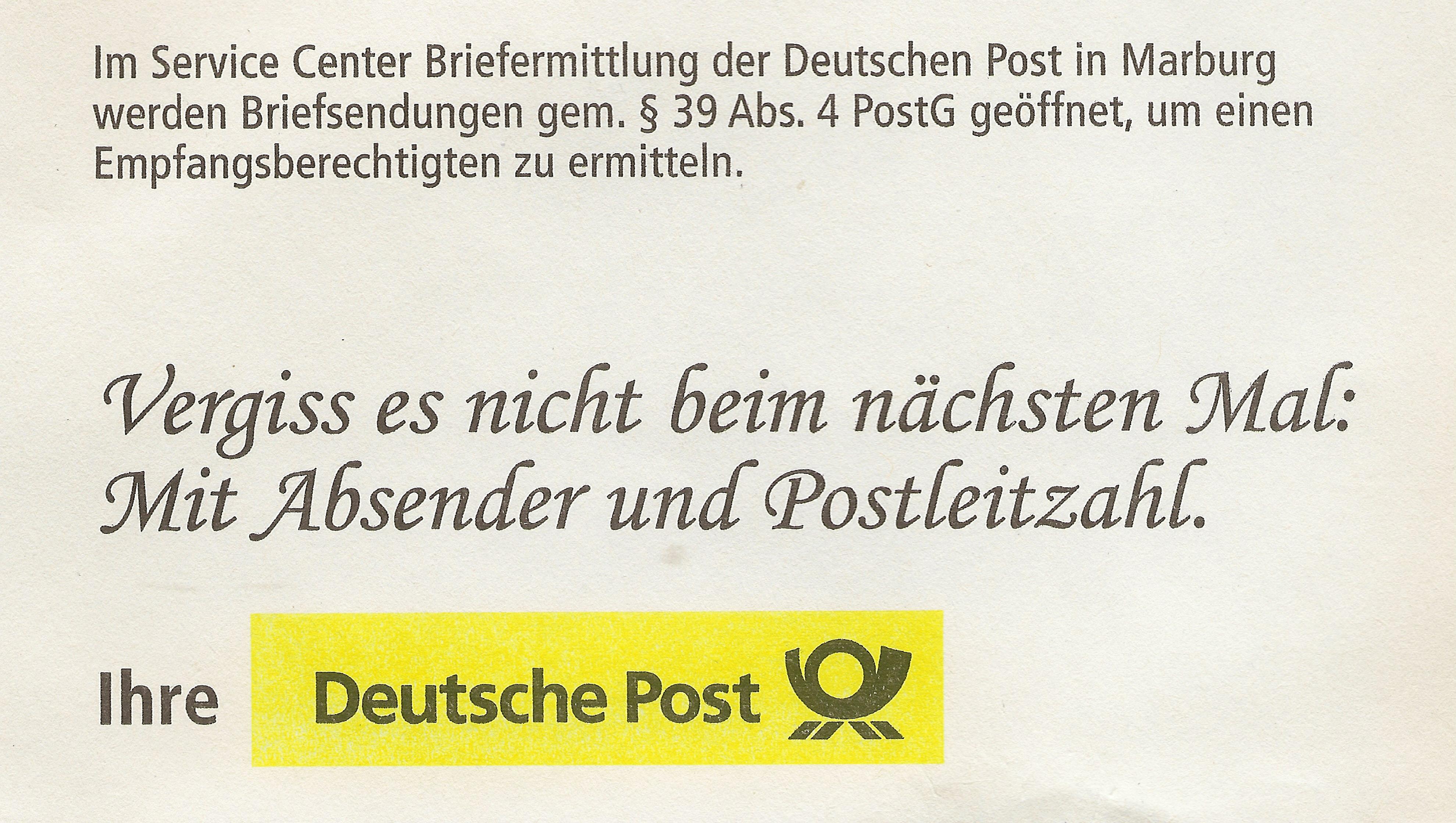 Dateiservice Center Briefermittlung Der Deutschen Post Hinweis