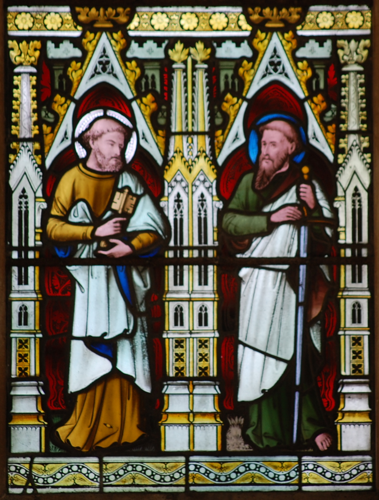 St. Peter and St. Paul. Detail from stained glass in the church of St Mary and St Lambert in Stonham Aspal in Suffolk dans immagini sacre