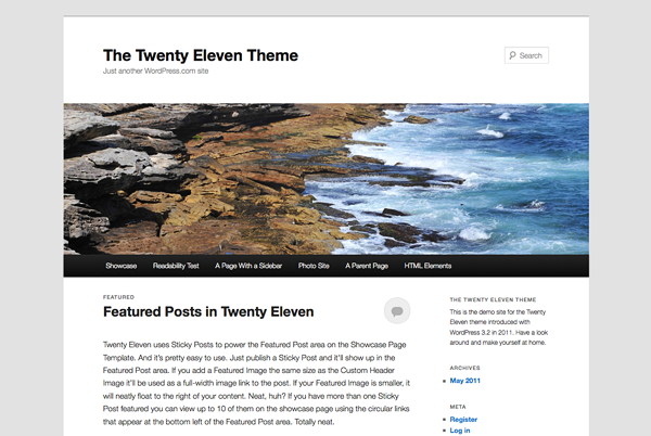 An image of the WordPress theme, Twenty Eleven.