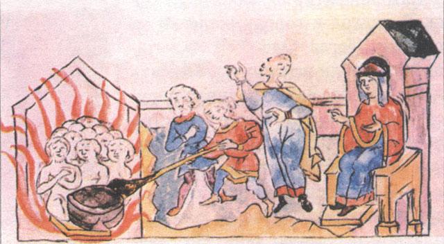 Вторая месть Ольги древлянам. Миниатюра из Радзивилловской летописи, XV век.
