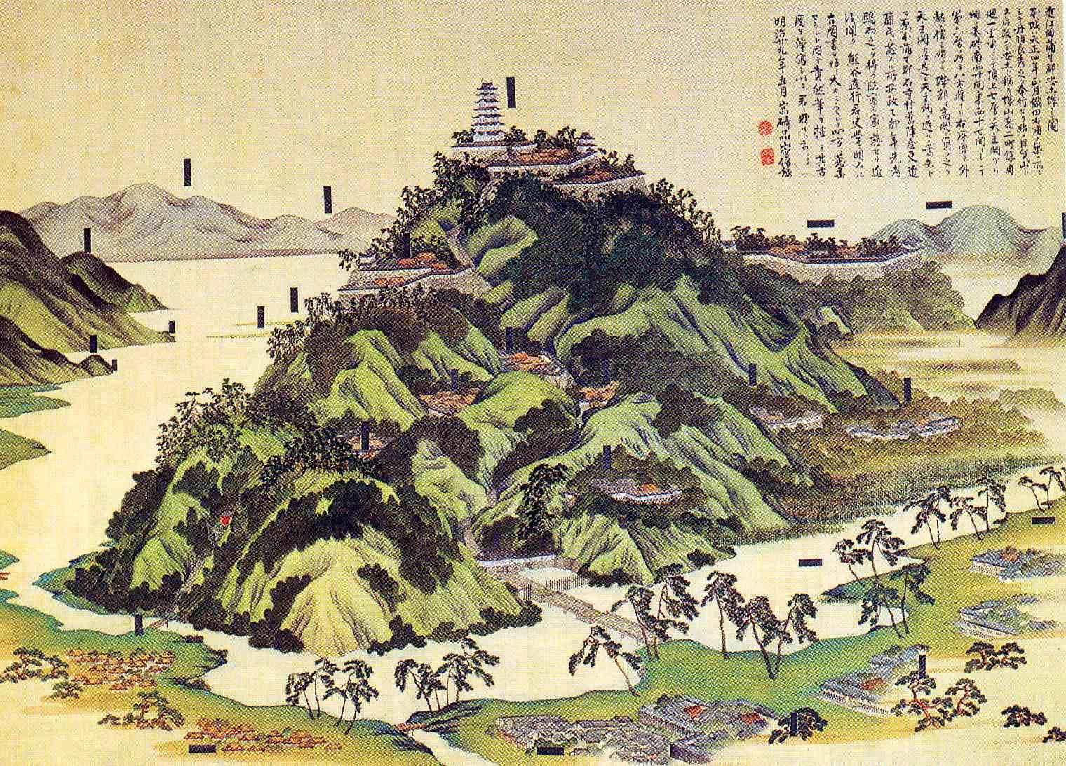 Alte Ansicht der Burg Azuchi