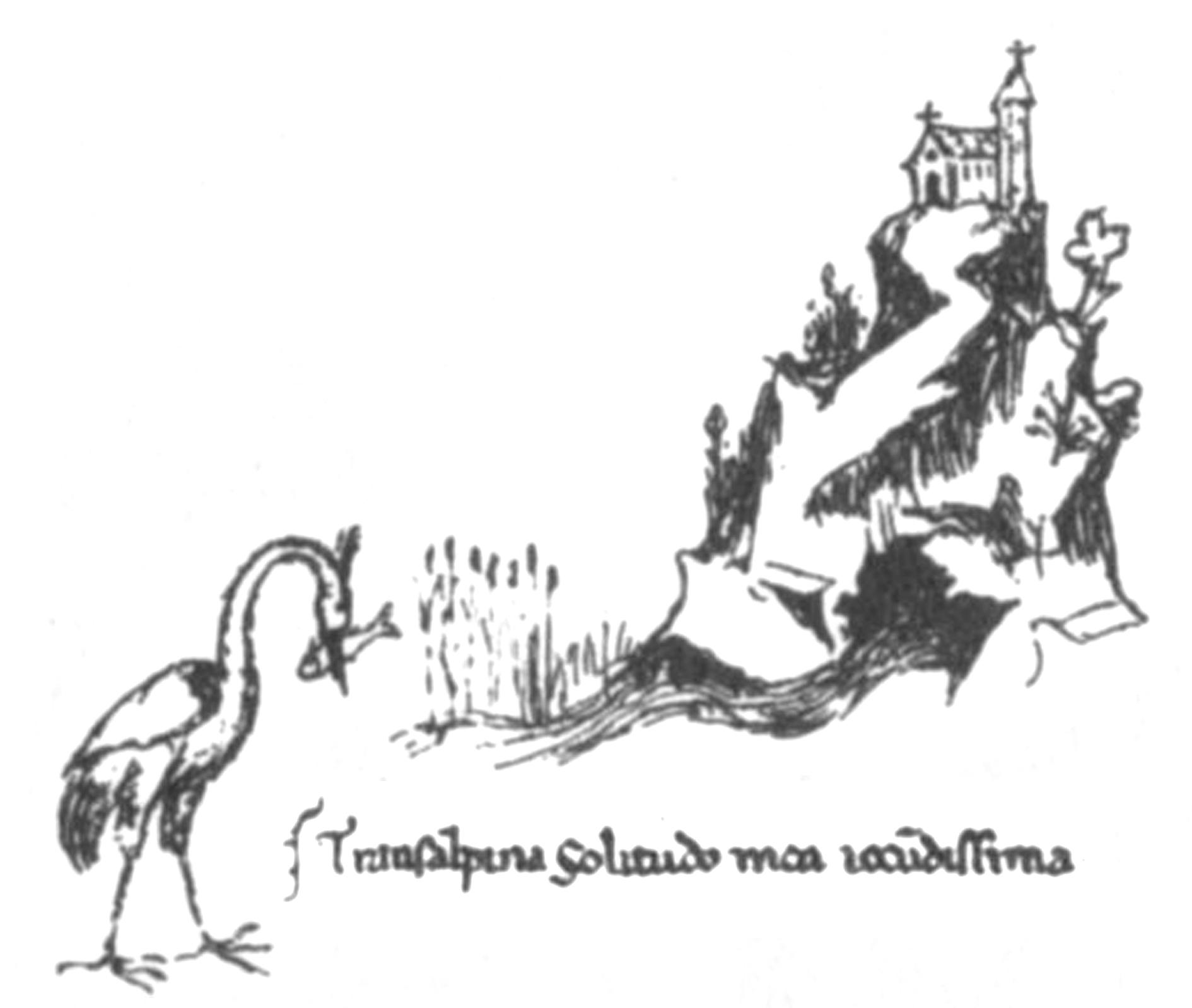 Dessin de la Fontaine de Vaucluse par Pétrarque