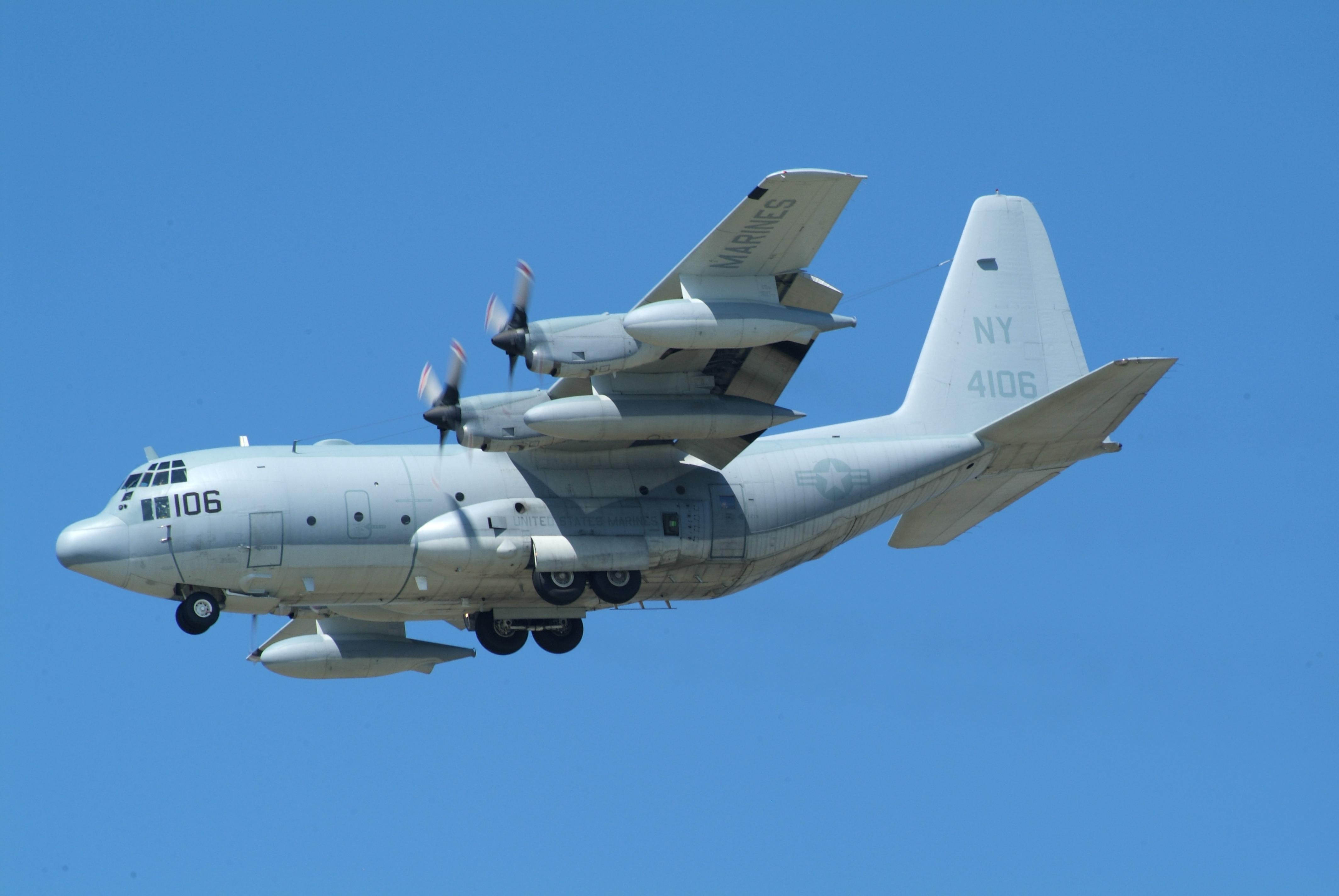 File:164106 NY a KC-130T of VMGR-452 landing at North ...