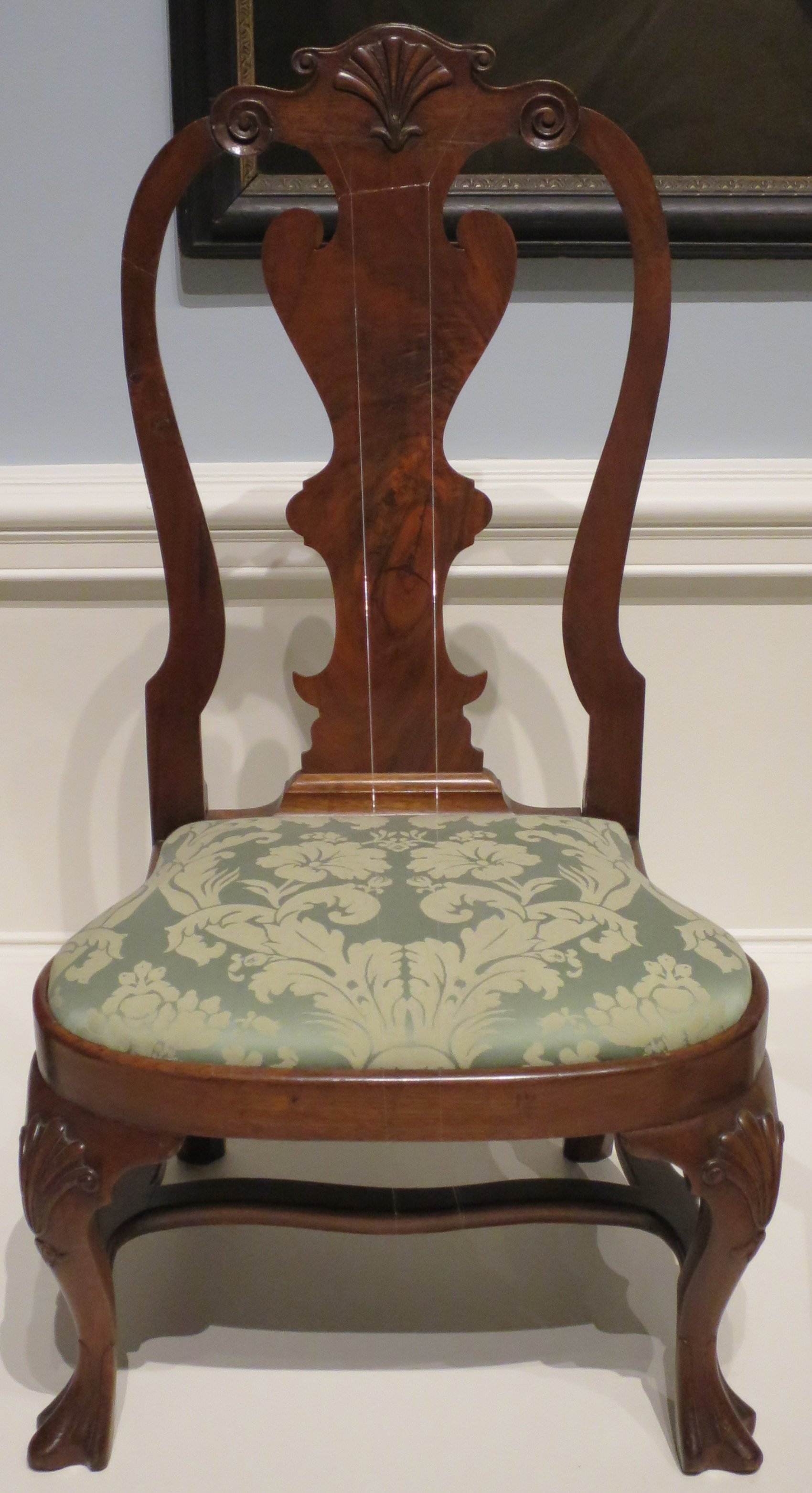 File American Queen Anne style slipper chair c 1740 60 walnut