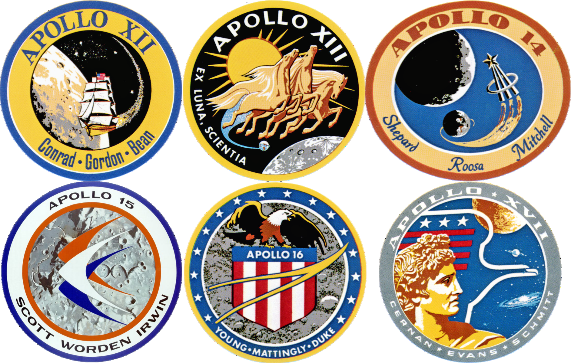 Apollo mission patches in order