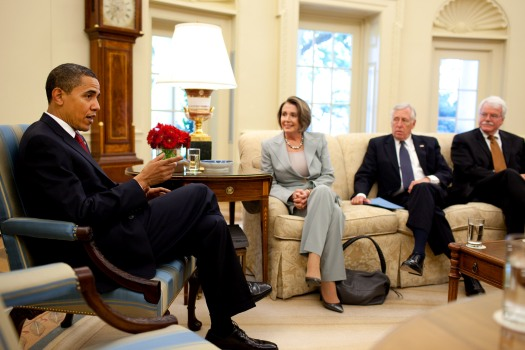 Barack Obama meets with Nancy Pelosi, Steny Hoyer %26 George Miller 5-13-09.jpg