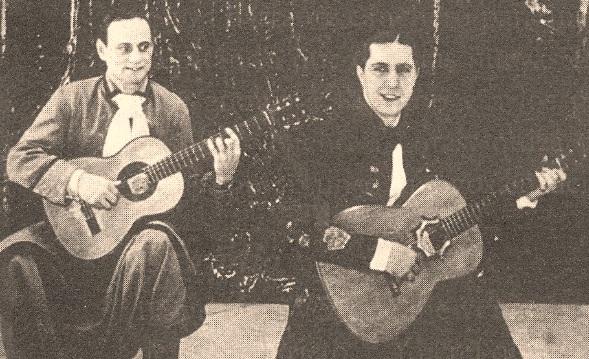 Guillermo Barbieri acompañando a Gardel. Barbieri fue el guitarrista que más tiempo acompañó a Gardel, falleciendo al igual que Riverol en el accidente aéreo donde murió El Zorzal Criollo.
