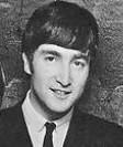 A black-and-white image of a young John Lennon smiling, taken from 1963