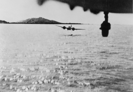 Bristol Blenheims of No. 60 Squadron RAF flying low to attack a Japanese coaster off Akyab, Burma on 11 October 1942. Blenheims flying low.jpg