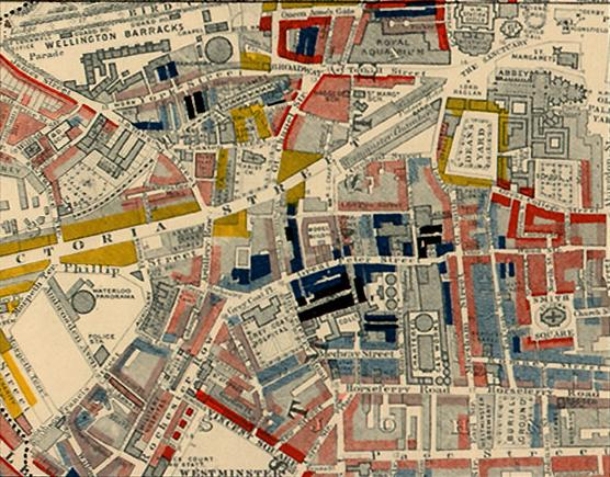 Part of Charles Booth's colour-coded poverty map, showing Westminster in 1889 - a pioneering social study of poverty that shocked the population. Booth map of Westminster.jpg