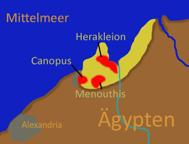 Map of Nile Delta showing ancient Canopus, Heracleion, and Menouthis Canopus menouthis herakleion.jpg