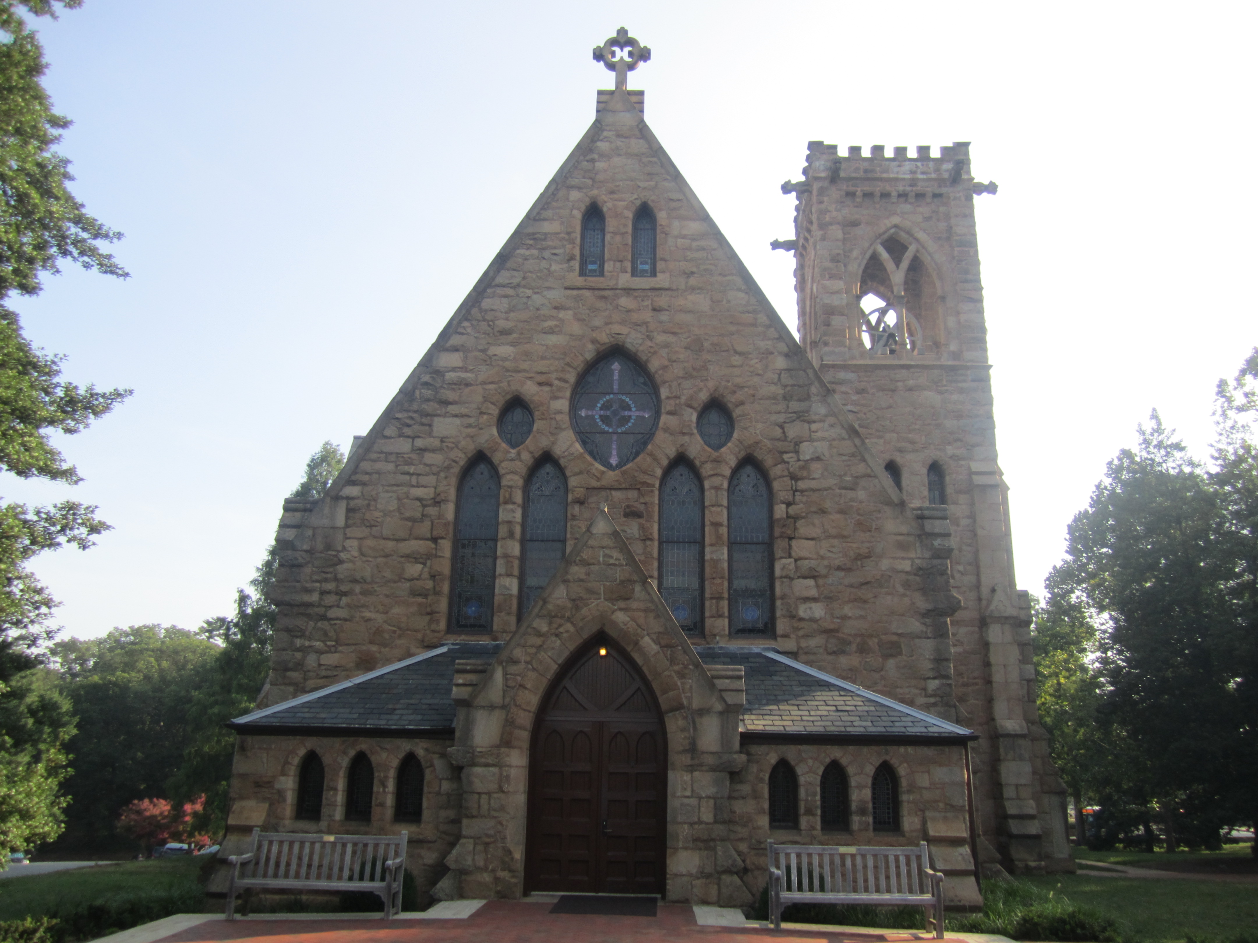 The non-denominational chapel near the Rotunda of the university was established in 1890, beyond the original scope of Jefferson's plans.