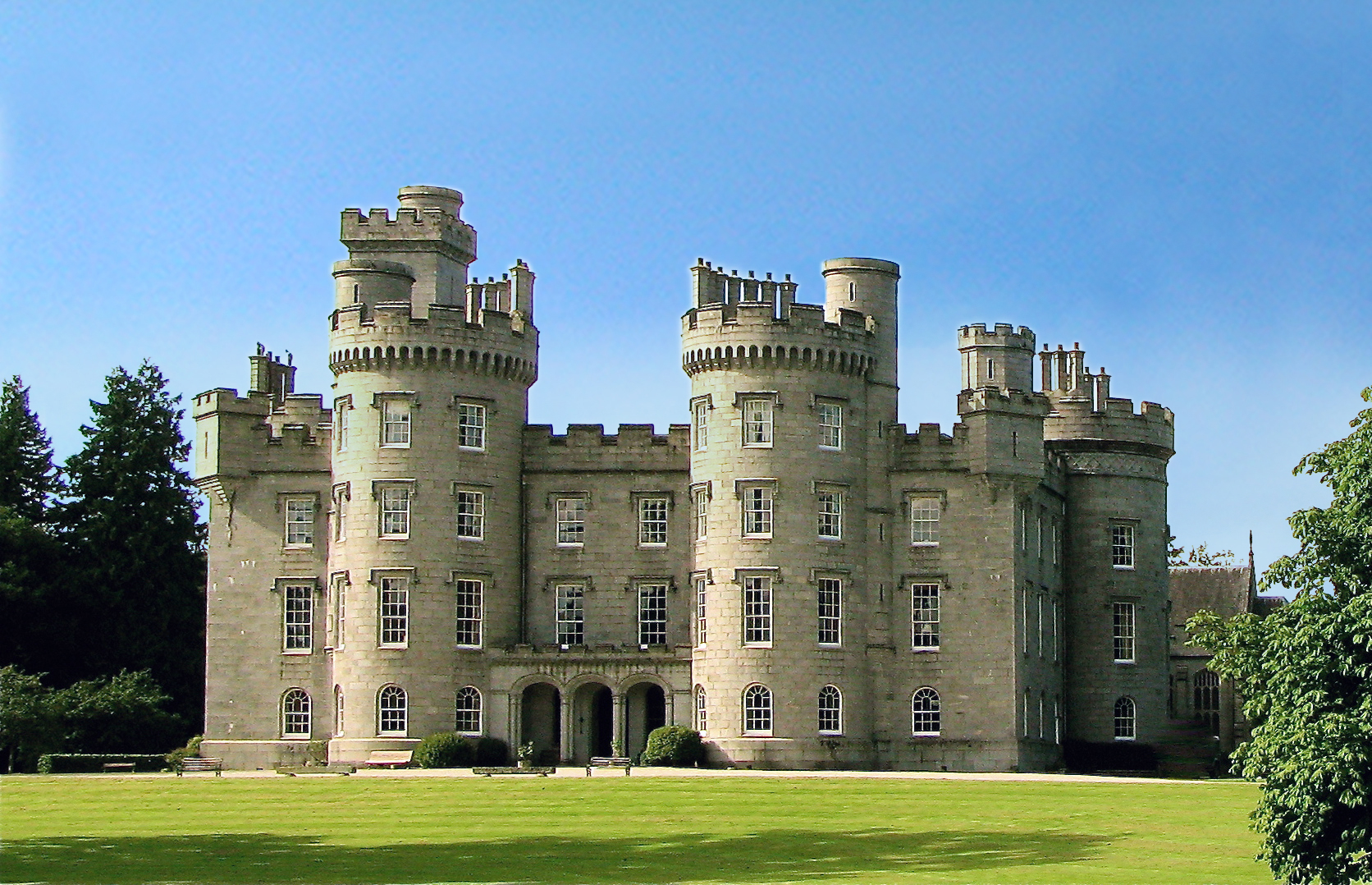 Castle with turrets and balustrades