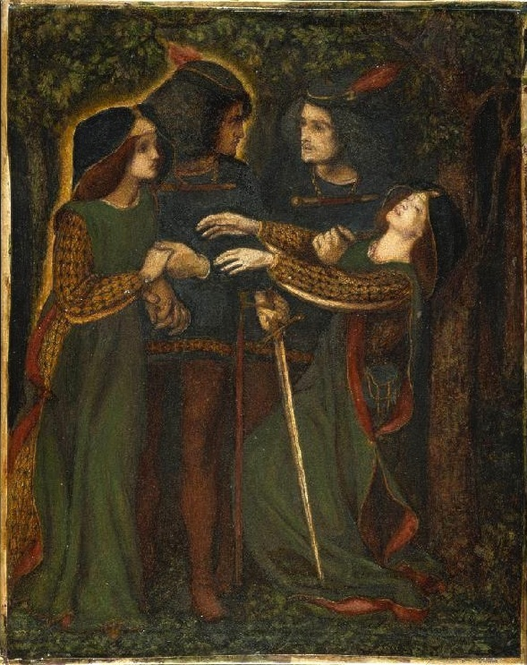 An image by Dante Gabriel Rossetti of a couple meeting their doubles in the forest. The double should not be confused with the fetch.