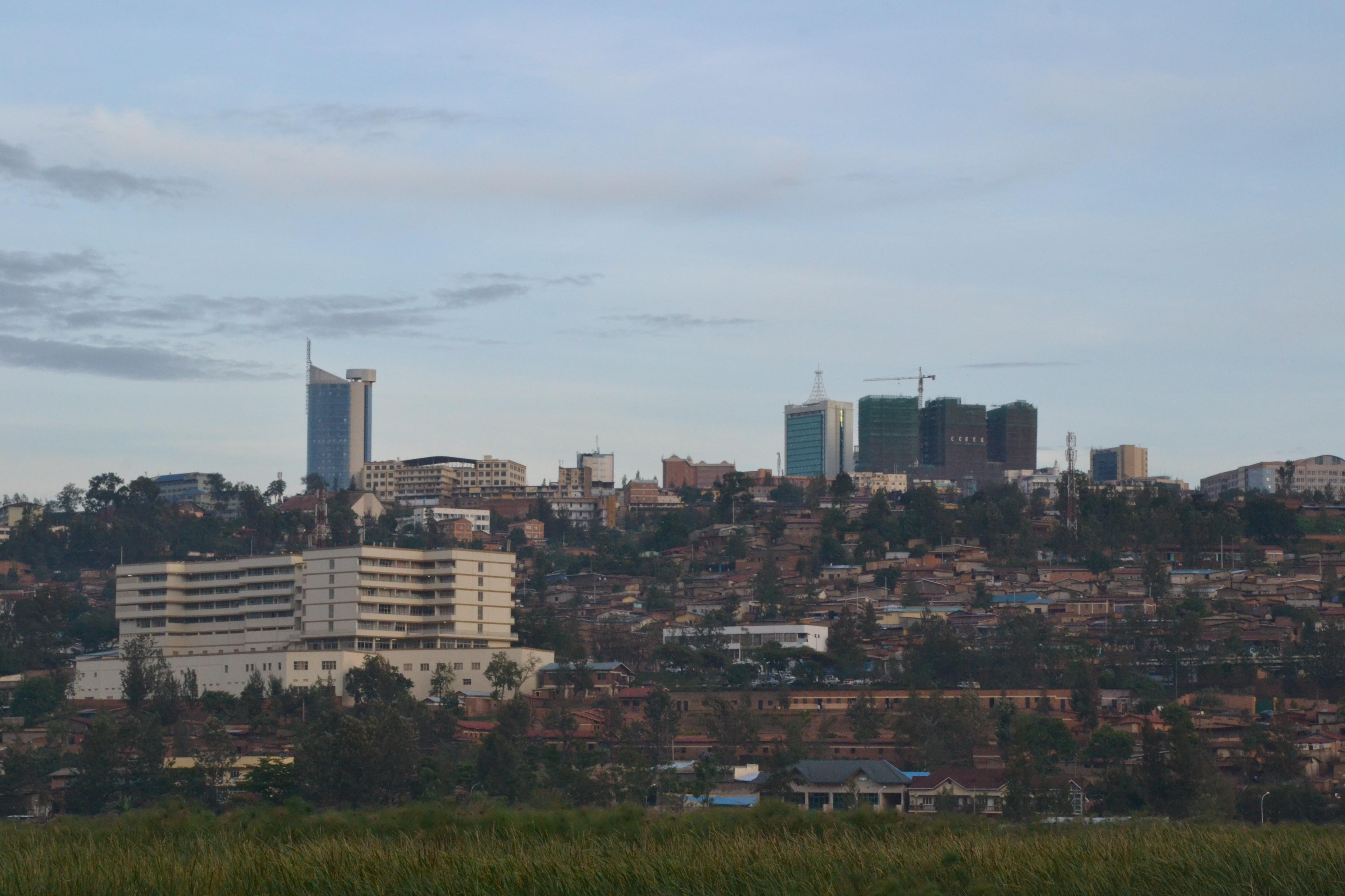 Kigali Rwanda  City pictures : Description Downtown Kigali and papyrus marsh October 2012