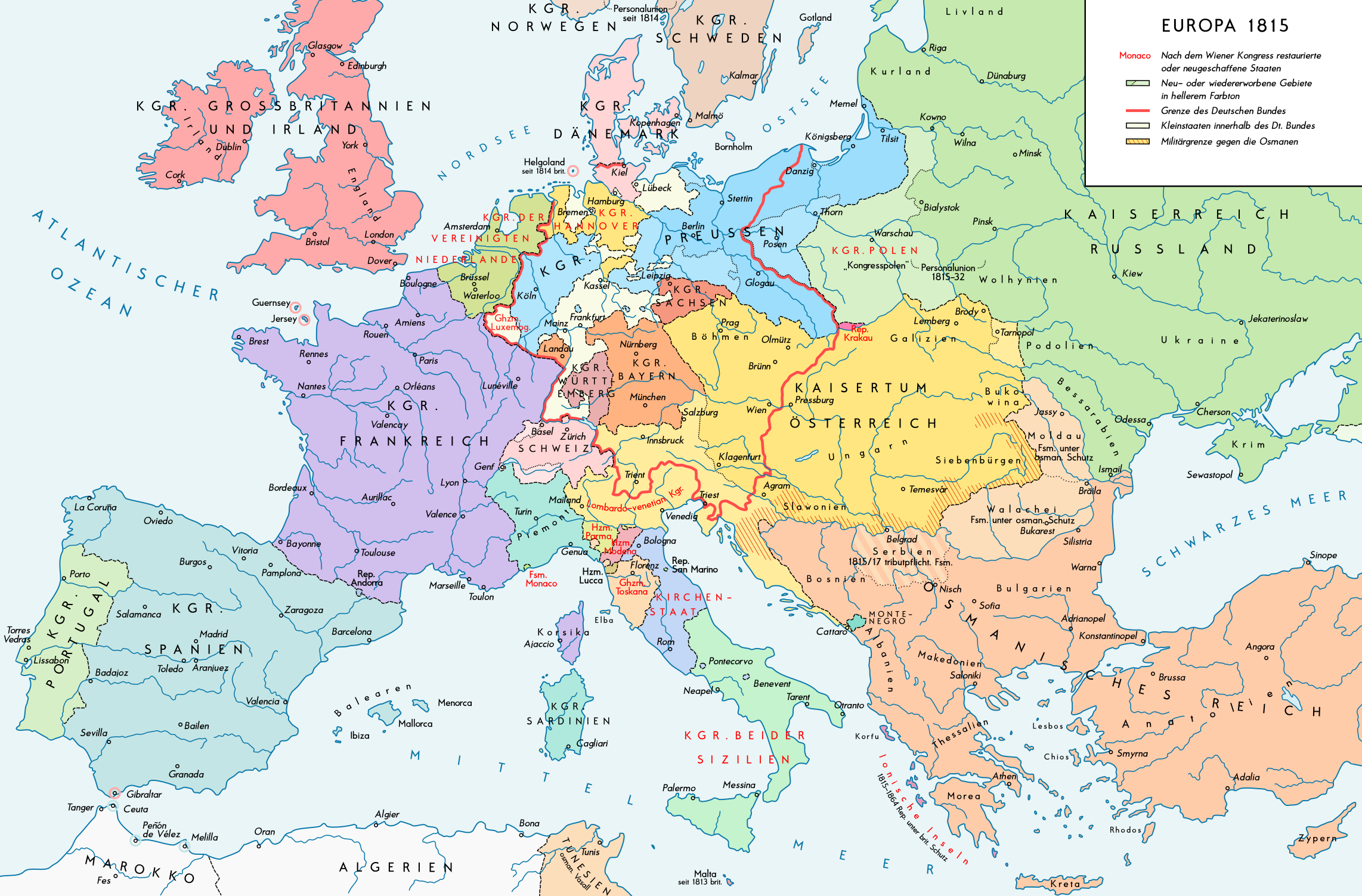 Europe 1815 Map En With Political Of 2017 - picturetomorrow